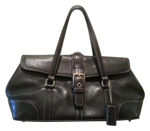 Coach Leather Small Satchel in Black