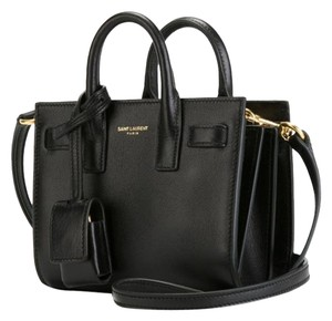 Saint Laurent Leather Crossbody Tote in black