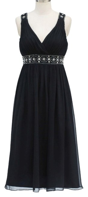 Preload https://img-static.tradesy.com/item/1849356/black-chiffon-embellished-pleated-goddess-v-neck-mid-length-formal-dress-size-12-l-0-0-650-650.jpg