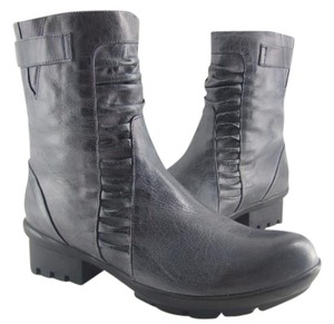 Antelope Grey Leather Ankle Boots