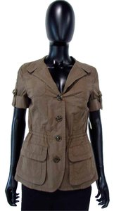 LUISA CERANO Khaki Button Down Ruched Collared Brown Jacket