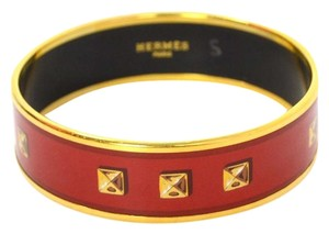 Hermès Hermes Red and Gold-Plated Enamel Bangle Sz 65