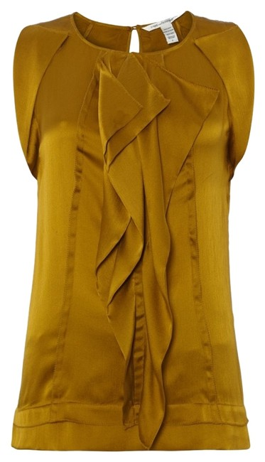 Preload https://item1.tradesy.com/images/diane-von-furstenberg-gold-ayla-silk-ruffle-shell-tank-tunic-blouse-size-8-m-1849390-0-0.jpg?width=400&height=650