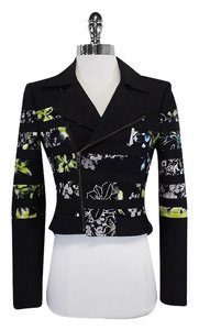 BCBGMAXAZRIA Black Floral Panel Cotton Jacket