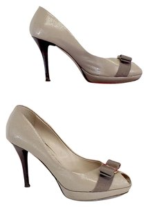 Salvatore Ferragamo Taupe Patterned Leather Pumps