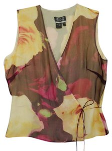 Lafayette 148 New York Silk Business Evening Casual Top Super Yellow and Red Roses