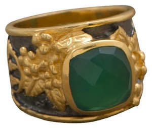 Other (New) 14 Karat Gold Plated Sterling Silver Two Tone Green Onyx Ring