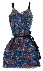 W118 by Walter Baker short dress Blue Pink Floral Print Tier on Tradesy