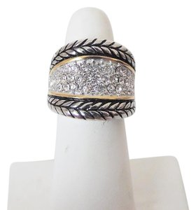 Emma Skye Pave Crystal Rope Stainless Steel Ring Size 10