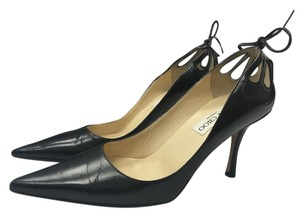 Jimmy Choo Pointed Toe Cut-out Leather Black Pumps