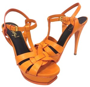 Saint Laurent Adjustable Strap Buckle Closure Platform Sandal Interlocking Straps Matte Leather Orange Pumps