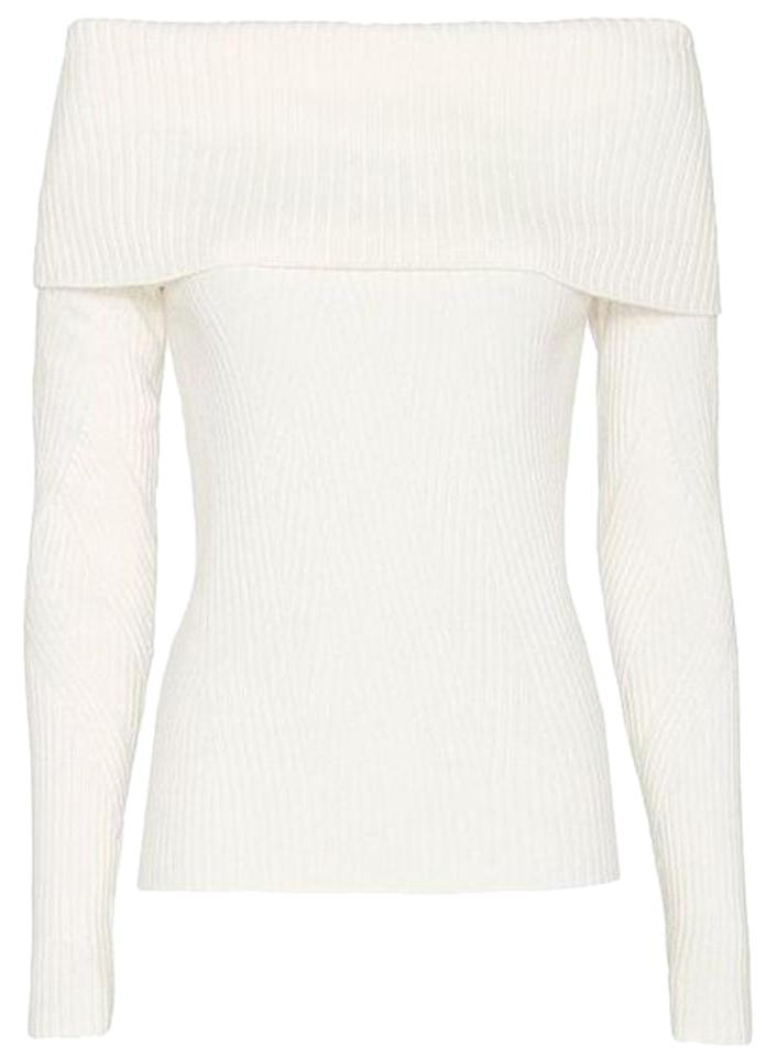Intermix Exclusive For Sylvie Pattern Off The Shoulder White Sweater