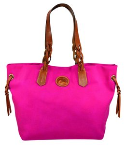 Dooney & Bourke Nylon Shopper Braided Leather Tote in Fuchsia