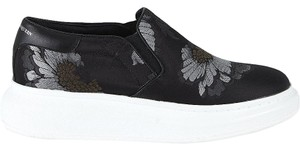 Alexander McQueen Slip-on Style Inset Elastic Lambskin Leather Modern Platform Woven Silk Black/Silver Athletic
