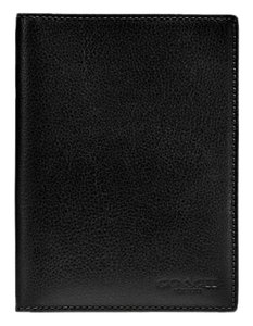 Coach Coach Calf Leather Bi-Fold Passport Wallet Case Black F93604 NWT