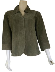 Coldwater Creek Suede Leather Blazer Green Leather Jacket