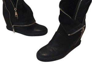 Casadei Leather Zippers Wedge Boots