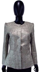 Lafayette 148 New York Shimmer Snap Shoulder Pad Gold Blazer