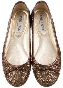 Jimmy Choo Round Toe Gold Hardware Brown Flats