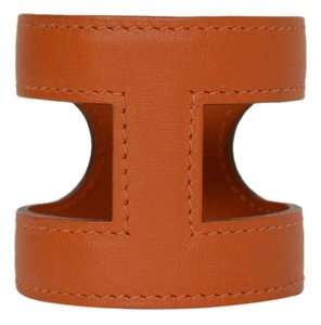 Herms Hermes Orange Leather 'Amo' Cuff Bracelet