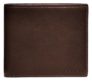 Coach Bleecker Double Billfold Leather Wallet Mahogany Brown