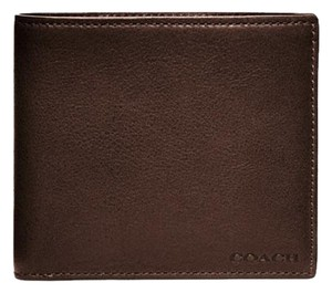 Coach Coach F74316 Bleecker Double Billfold Leather Wallet Mahogany Brown