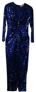 Oleg Cassini Vintage Sequin Gown Blue Dress