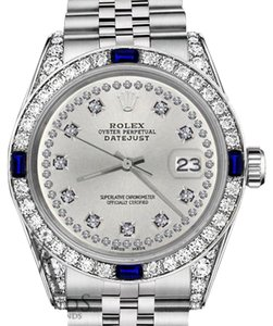 Rolex Women's Rolex 31mm Datejust Silver String Dial Sapphire & Diamond