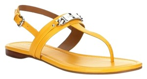Coach Yellow Sandal Leather Canary Flats