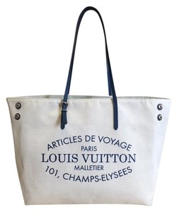 Louis Vuitton Cabas Tote in Beige and blue