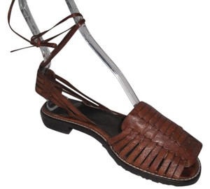 Stuart Weitzman Strappy Woven Leather Brown Sandals