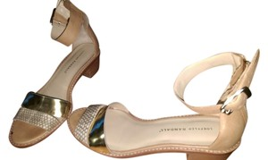 Loeffler Randall nude with gold detail and white snakeskin strap Sandals