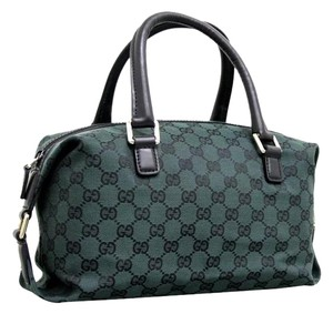 Gucci Boston Canvas Gg Satchel in Dark Green