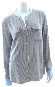Equipment Button Up Silk Stripped Top Black and white with blue