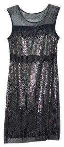 Adrianna Papell Beaded Shift Metallic Dress