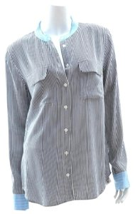 Equipment Button Up Top Black and white with blue