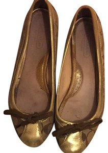 Coach Gold And Khaki Flats