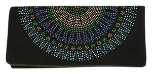 Tory Burch Olive Green Beaded Embellishment Felt Clutch