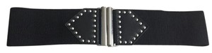 Betsey Johnson Black Elastic Studded Wide Belt