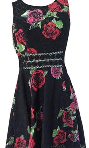 Free People short dress Black and pink floral print on Tradesy