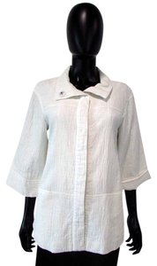 Lafayette 148 New York Wrinkle 3/4 Sleeve Button Down White Jacket