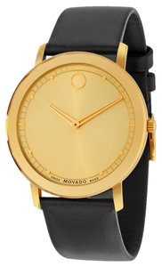 Movado Gold tone Stainless Steel Black Leather Strap Ladies Watch