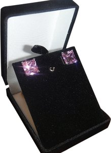 Like New Princess Cut Pink CZ Stud Earrings, Silvertone Setting