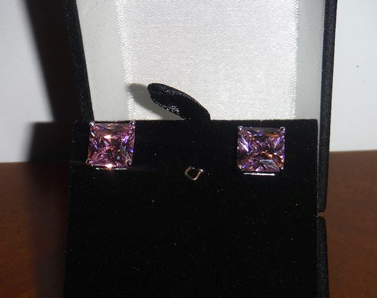 Other Like New Princess Cut Pink CZ Stud Earrings, Silvertone Setting