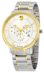 Movado Two Tone Gold and Silver Soleil Dial Designer MENS Dress Watch