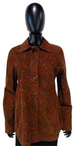 Carlisle Button Down Elbow Patch Paisley Top Brown