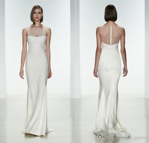 Amsale Ivory Silk May Gown Modern Wedding Dress Size 4 (S)