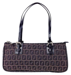 Fendi Zucchino Canvas Leather Satchel in Brown and Black