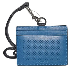 Coach Blue Perforated Leather East West Lanyard ID Badge Holder