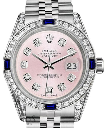 Womens Datejust 31mm S/S Metallic Pink Dial Sapphire & Diamond Watch by Rolex